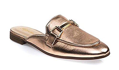 Paprika Damen Goldton Horsebit Hardware Rückenfrei Slip On Loafer Penny*