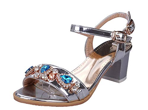 VogueZone009 Women Open-Toe Buckle Pu Solid Kitten-Heels Sandals Silver
