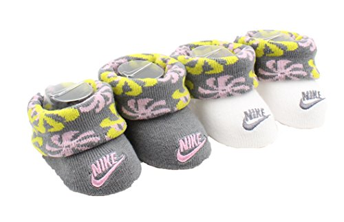(Nike Girls Newborn Infant Booties 2-Pair Pack (Dynamic Yellow (Y3C), 0-6 Months))