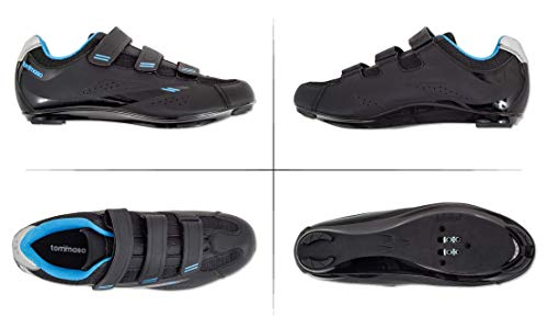 Pictures of Tommaso Pista Women's Spin Class Ready Cycling Shoe - Black/Blue - Look Delta - 39 6