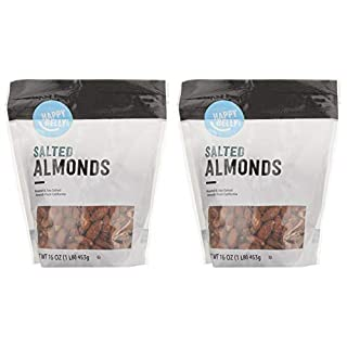Amazon Brand - Happy Belly Roasted & Salted California Almonds, 16 Ounce, Pack of 2