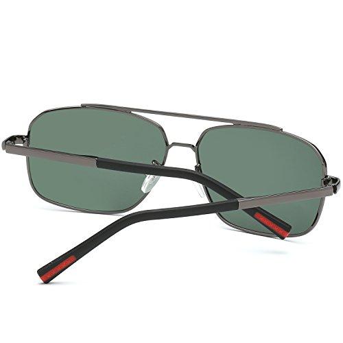 Hombre Aviator Clásico AMZTM Doble Pescar Rectangulaire Sol Puente HD UV400 Polarisées Protección Conducción 100 Retro De Gafas Gafas Marco Lentes Metal nwFtda0tq
