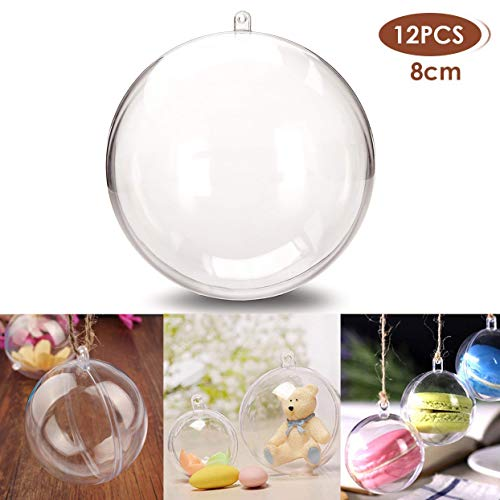 StillCool Clear Ornaments Plastic Fillable Ball for Christmas Ornament Baubles - Pack of 12 (80mm - Carton Packaging) ()