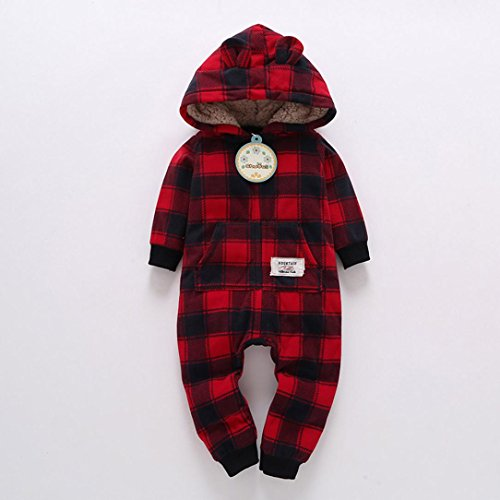 Omiky® Säuglings-Baby-Jungen-Mädchen-Dicker-Druck-Kapuzenpulli-Overall-Ausstattungs-Kind-Kleidung Wein