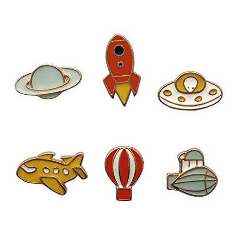 - WINZIK Cartoon Lapel Pins Set 6Pcs Cute Aircraft Rocket Planet UFO Series Brooch Badges For Women Children Clothing Backpacks Decor