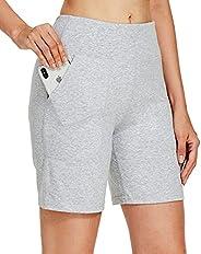 "Willit Women's 7"" Athletic Long Shorts Running Bermuda Shorts High Waisted Cotton Yoga Lounge Shorts"