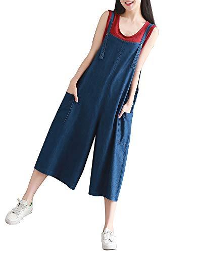 Femme Salopette Lache Casual Jeans Jambe Large Jumpsuit Pantalon Denim Bavoir Bleu