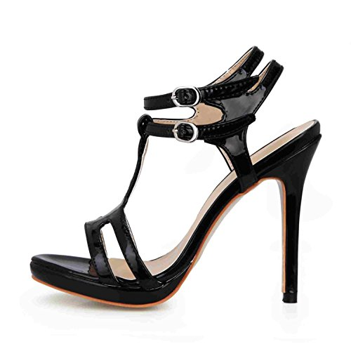 toe Basic Rubber Slingbacks Wedding Sole 4U Sandals Leather 12CM Shoes Peep Best Patent High Pumps Heels Summer Women's Black 6zgw6xqYp
