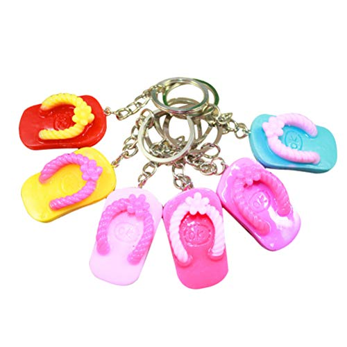 Toyvian 12pcs Sandal Keychains Luau flip Flop Slipper Key Charms Summer Hawaiian Luau Beach Party Favors ()