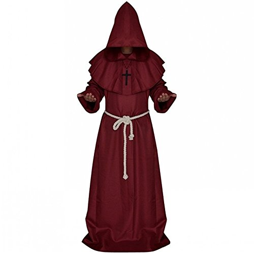 [Skydue Medieval Friar Monks Priest Robe Hood Halloween Costume] (Priest Halloween Costume Deluxe)