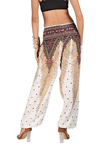 JOOP JOOP Bohemian Tapered Elephant Harem Loose Yoga Pants, White, S/M by JOOP JOOP (Image #2)