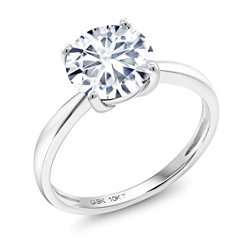 (10K White Gold Engagement Solitaire Ring Forever 1 (GHI) Round 1.90ct (DEW) Created Moissanite by Charles & Colvard (Size 6))