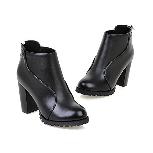 AgooLar Women's Zipper High-Heels Pu Solid Low Top Boots Black iOdLS