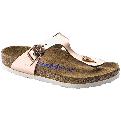 Birkenstock Women's Gizeh Soft Footbed Sandal,Metallic Copper Leather,EU 38 R