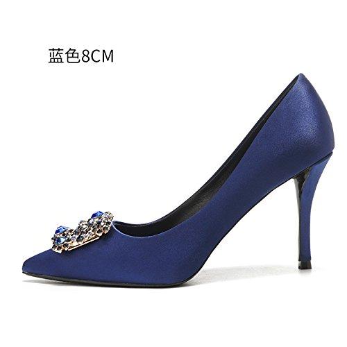 HUAIHAIZ Escarpins femme Talons hauts Les chaussures à haut talon femelle rouge robe de mariée chaussures de mariage femmes chaussures de soirée The blue 8CM DnSlUc0B