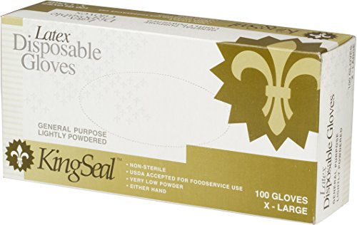 KingSeal Powdered Ivory Latex Disposable Gloves, 4 mils thick - Medium, 4 Pack/100 per Pack by KingSeal (Image #3)