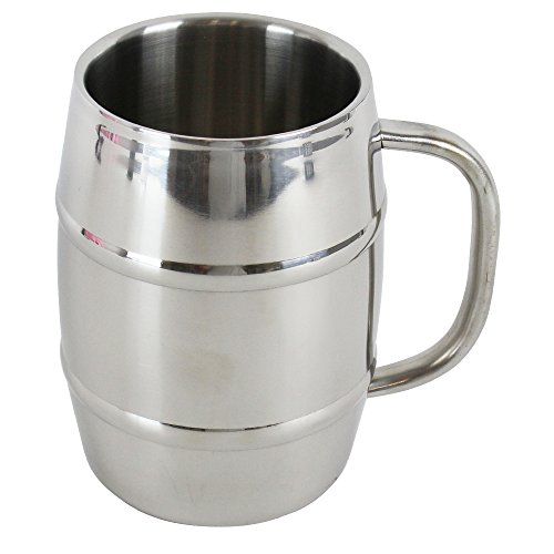 Mancave Stainless Steel Double Walled German Beer Stein with Handle, 32 oz,