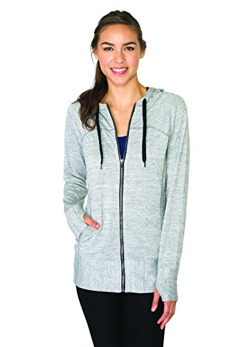 RBX Active Womens Lightweight Sweater Zip Hoodie Jacket with Contrast Trim, Grey Combo, Medium -
