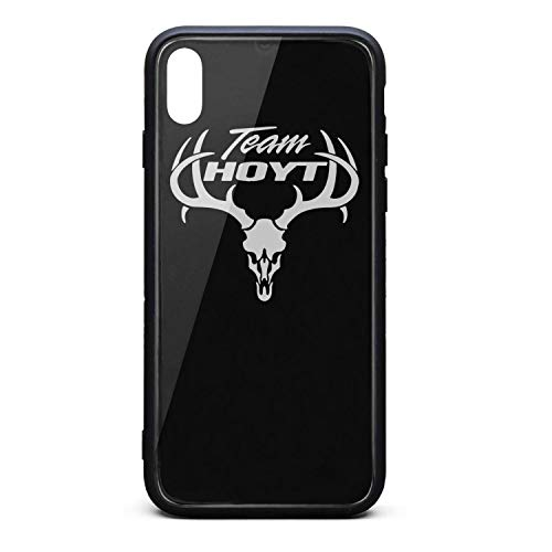 YJRTISF iPhone Xs Case Shockproof Case Glass Rear Cover 9H Tempered Glass Back Cover Team-Hoyt-Archery-Antlers-Logo- Scratch Resistant Soft TPU Material Bumper for iPhoneXs