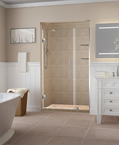Aston Belmore GS Frameless Hinged Shower Door in Frosted Glass and Shelves