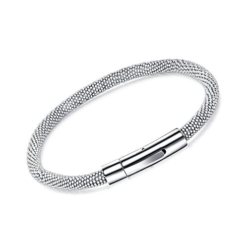 Dalino Fashion and Personality New European and American Style Titanium Steel Mesh with Buckle Design Bracelet Men's Bracelet(Silver) by Dalino