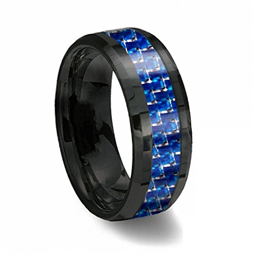 8mm Black Tungsten Ring with Blue & White Line Carbon Fiber Wedding Band Size 11.5