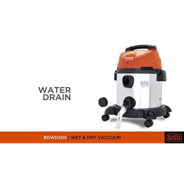BLACK+DECKER WDBDS20 20-Litre, 1400 Watt, 16 KPa High Suction Wet and Dry Stainless Steel Vacuum Cleaner and Blower with HEPA Filter and Reusable Dustbag (Red) 9