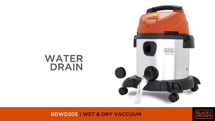 BLACK+DECKER WDBDS20 20-Litre, 1400 Watt, 16 KPa High Suction Wet and Dry Stainless Steel Vacuum Cleaner and Blower with HEPA Filter and Reusable Dustbag (Red) 2