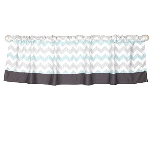 - Uptown Giraffe Mint and Grey Chevron Window Valance by The Peanut Shell