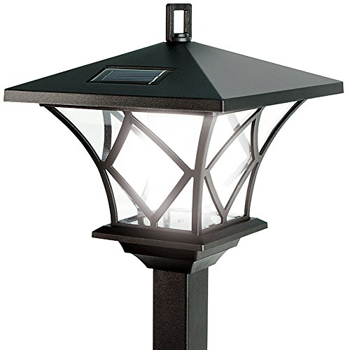 Ideaworks Solar Powered LED Yard Lamp With 5 Foot Pole For Outdoor Lighting (Outdoor Lighting Pole)