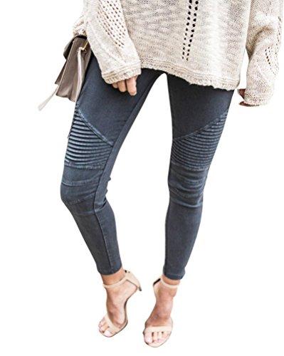 Denim Boyfriend Casuale Sottile Pantaloni Leggings Elastico Grigio Jeans Donna pp1vnTI