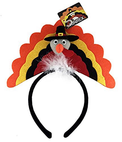 Novelty Thanksgiving Funny Turkey Headbands - Turkey Costume Hat Fall Decoration Accessories for Kids and Adults - One Size Fits All