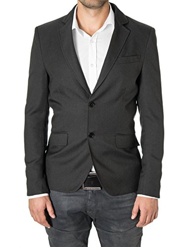 MODERNO Blazers for Men Slim Fit Sport Coat 2 Buttons by (MOD14514B) Charcoal US M