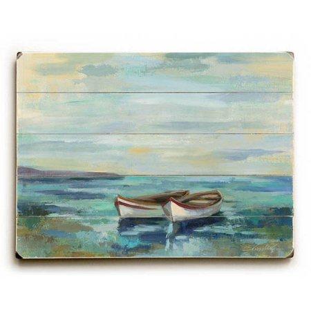 One Bella Casa Boats at The Beach by Silvia Vassil Eva Wood Wall Decor, Size, Multicolor from One Bella Casa