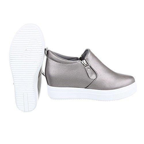 6687 Ital Zapatillas Grau altas Design Y Mujer Silber xfpvATfwq