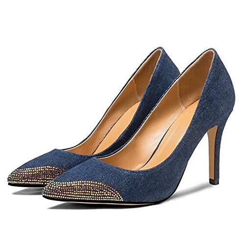 ZHZNVX Zapatos de Mujer Denim Summer Comfort Heels Stiletto Heel Black/Blue Blue