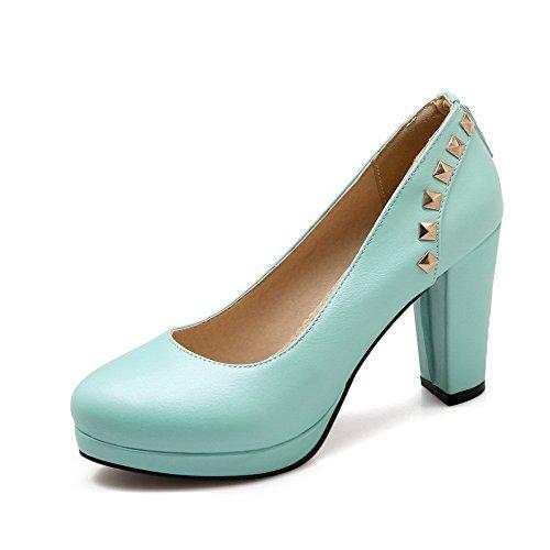 VogueZone009 Damen Hoher Absatz Eingelegt Ziehen auf Weiches Material Rund Zehe Pumps Schuhe, Blau, 41