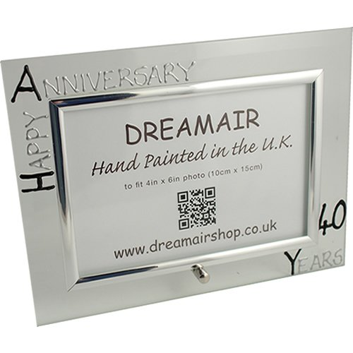 40th Ruby Year Wedding Anniversary Gift Photo Frame (L) (Black/Silver)
