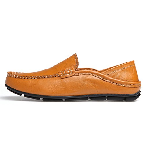 Sunrolan Men's Casual Soft Slip on Flat Leather Working Driving Loafer Yellow Vnvkr2G
