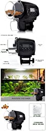 Digital Mini Automatic LCD Aquarium Fish Tank Food Feeder Timer up to 4 Feeding Times + High Accuracy Submersible Aquarium Index Thermometer