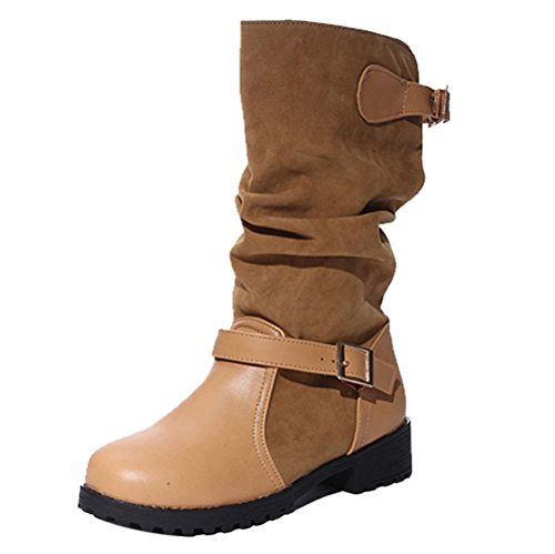 COOLCEPT Damen Bequeme Niedrige Pull On Slouch Stiefel Mid Calf with Schnalle Brown