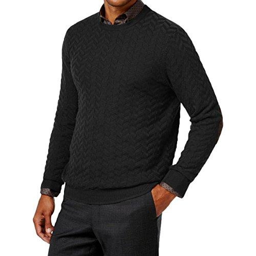 Tasso Elba Mens Chevron Shadow Long Sleeve Sweater Black XL
