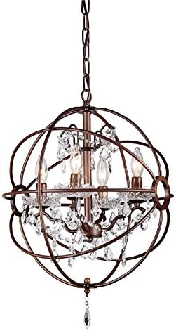 Whse of Tiffany Rl8049-16Ab Edwards Antique Bronze 16 5-Light Chandelier, White