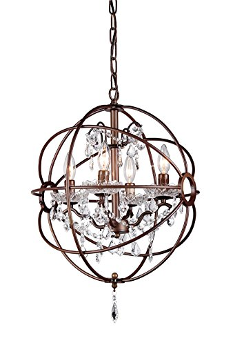 "Whse of Tiffany Rl8049-16Ab Edwards Antique Bronze 16"" 5-Light Chandelier, White - Setting: Indoor	Lighting Type: Chandelier Light Switch Type: Hardwired	Light Direction: Multi-directional Requires: Five (5) x 25-watt bulb - kitchen-dining-room-decor, kitchen-dining-room, chandeliers-lighting - 410BkBq9LIL -"