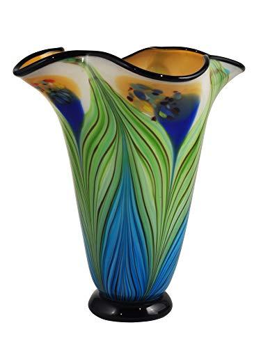 Dale Tiffany Kalmia Hand Blown Art Glass Vase Blue Green