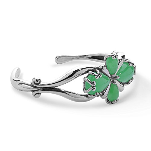 Carolyn Pollack Sterling Silver Green Jade Gemstone Four Petal Cross Cuff Bracelet Size Small