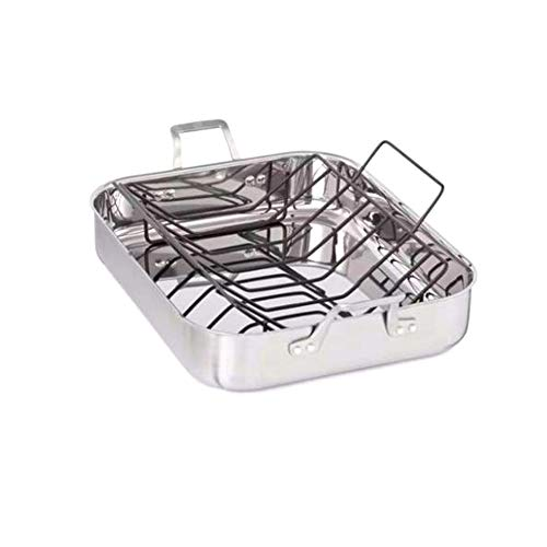 Deep Griddle Pan Stainless Steel Non Stick Rack Handled Turkey Poultry Ham Roasting Oven Dishwasher Large Rectangular Silver & eBook By JEFSHOP