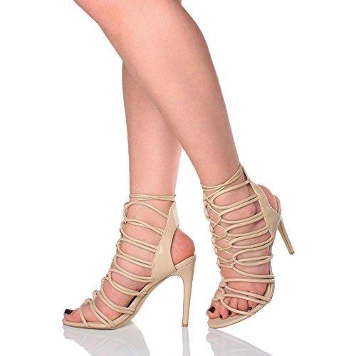 Ajvani - Sandalias de tacón alto y tiras para mujer Nude Matte