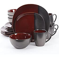 Gibson Elite 109009.16RM Volterra 16 Piece Reactive Glaze, Soft Square Dinnerware Set Red and Grey