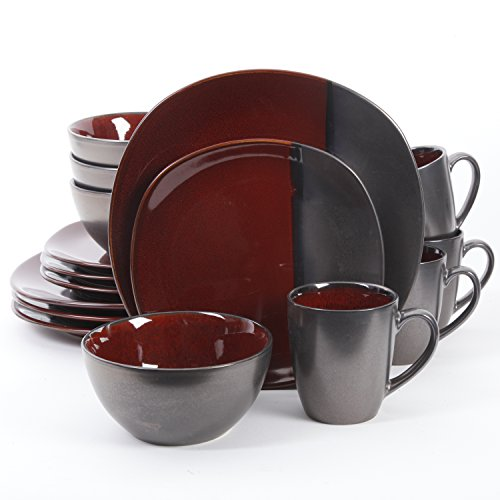 Gibson Elite 16 Piece Volterra Soft Square Dinnerware Set with Reactive Glaze Stoneware, Red and Grey (Sale Table For Set Breakfast)